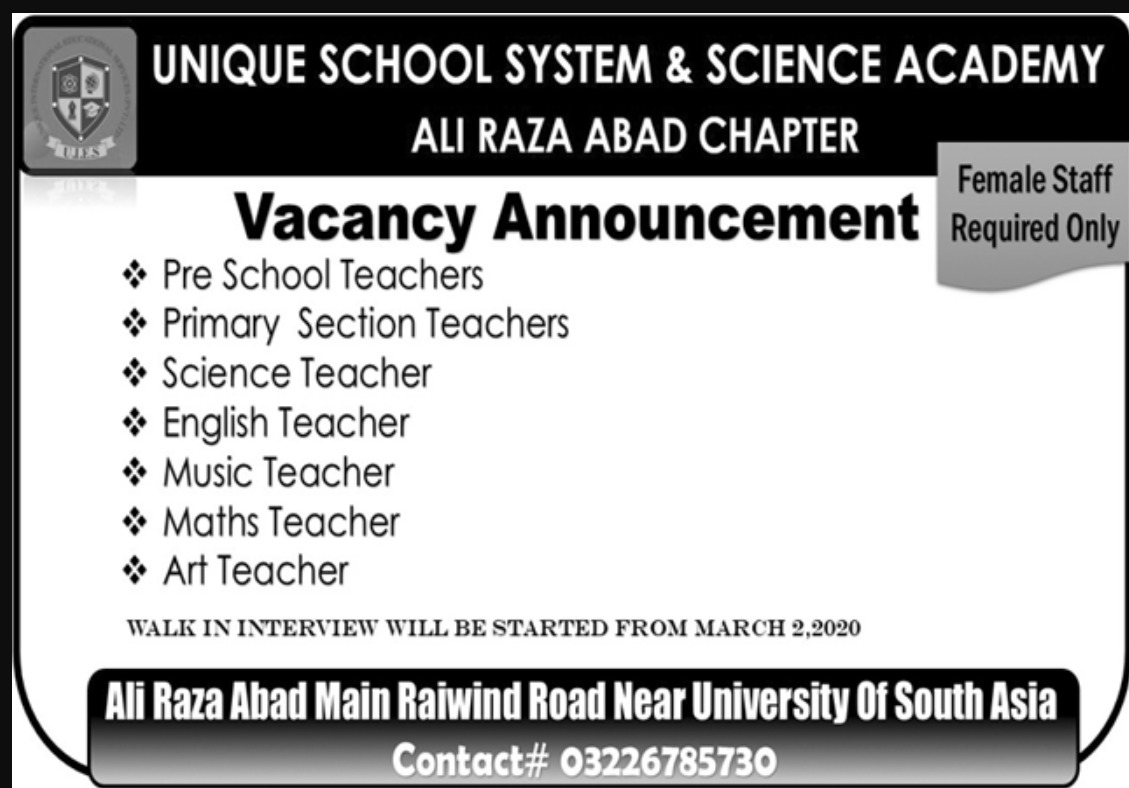 Unique School System & Science Academy Lahore Jobs 2020