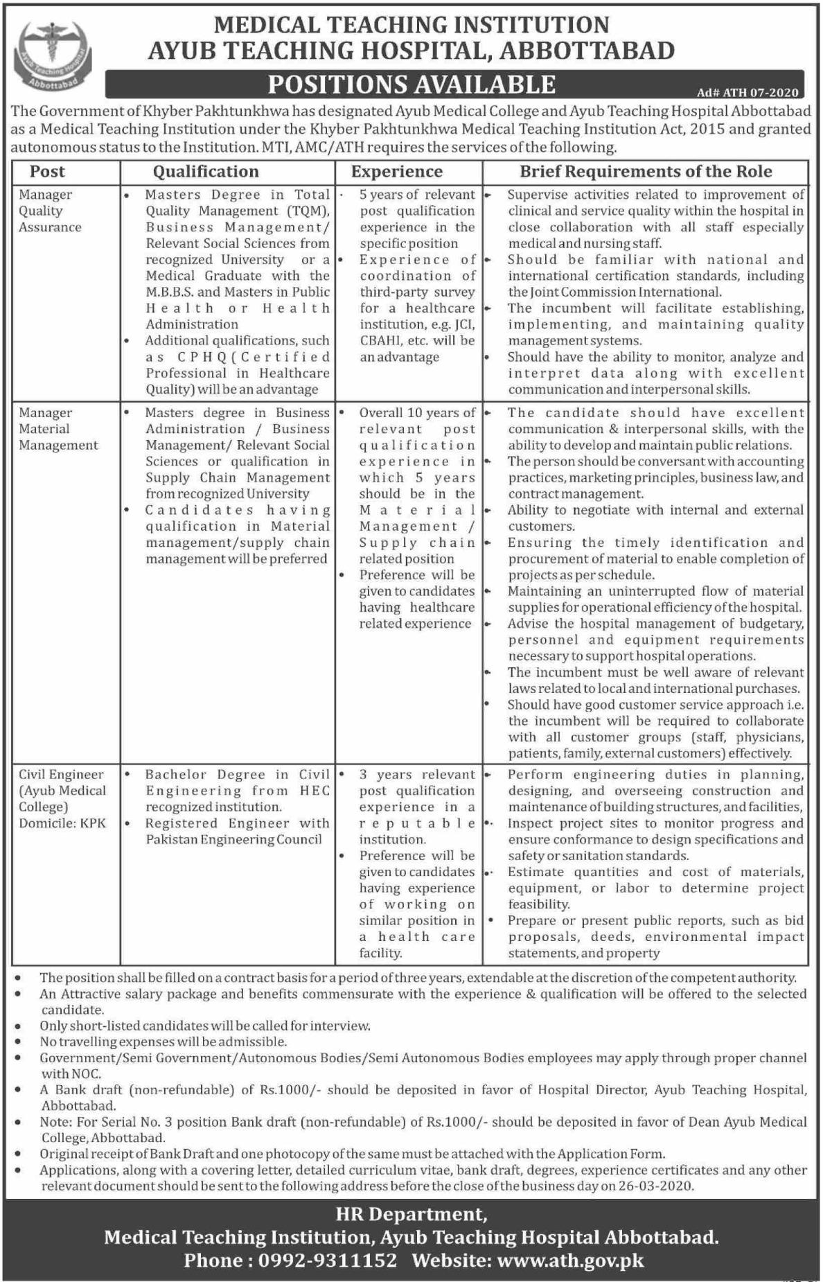 Ayub Teaching Hospital Abbottabad Jobs 2020