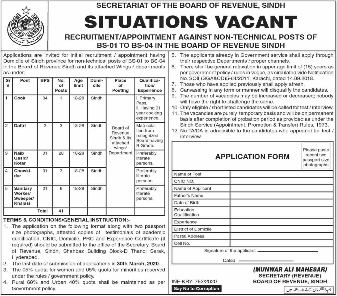 Board of Revenue Sindh Jobs 2020 Hyderabad