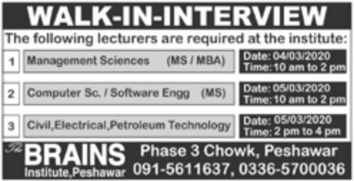 Brains Institute Peshawar Jobs 2020
