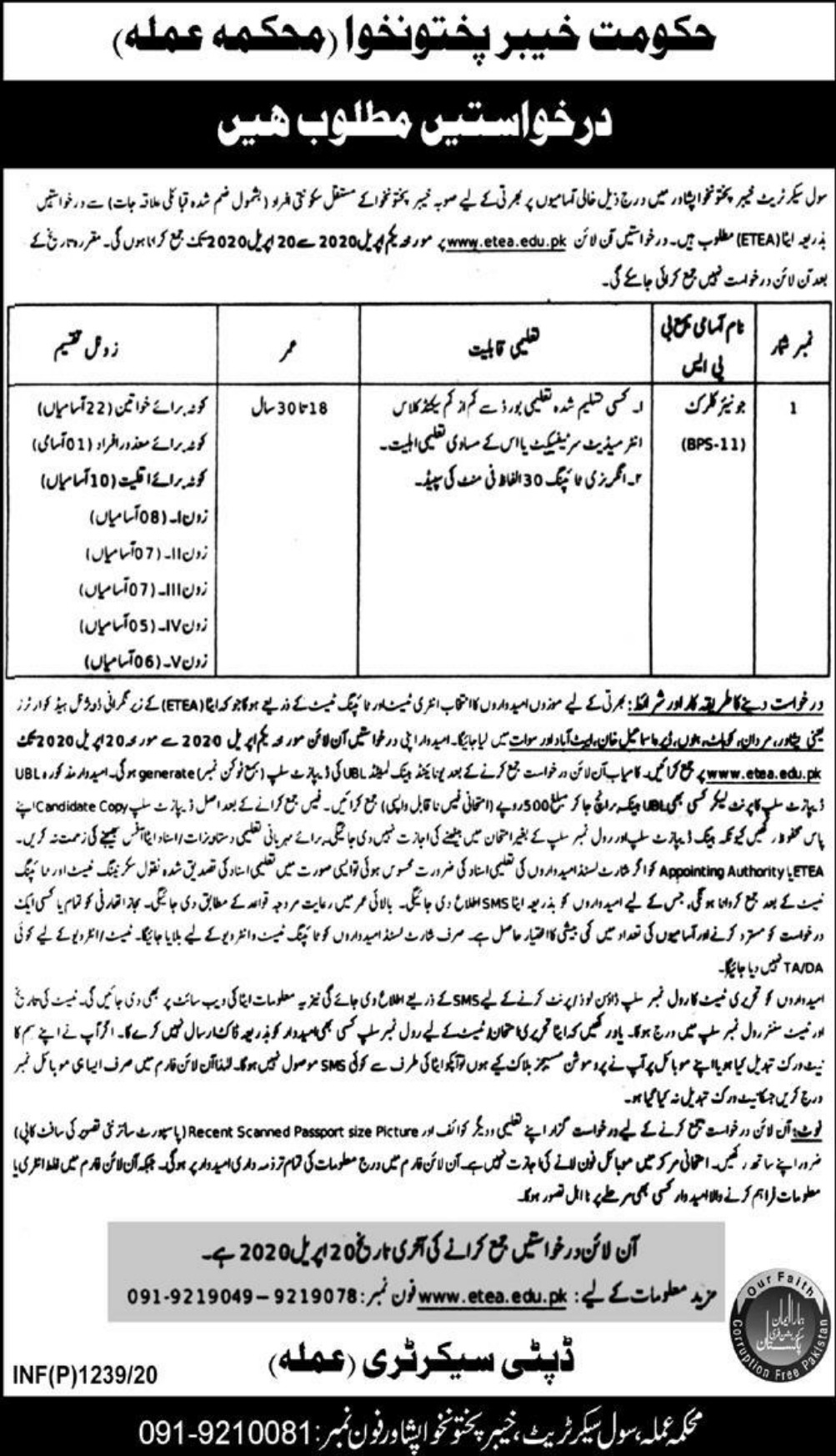 Civil Secretariat Peshawar Jobs 2020 KPK ETEA