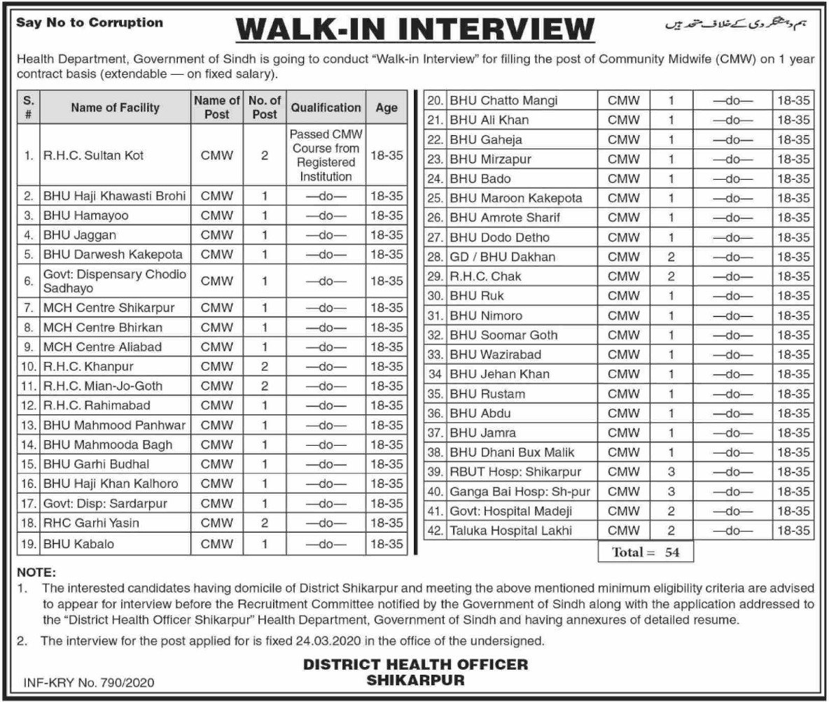 District Health Authority Shikarpur Jobs 2020 Sindh