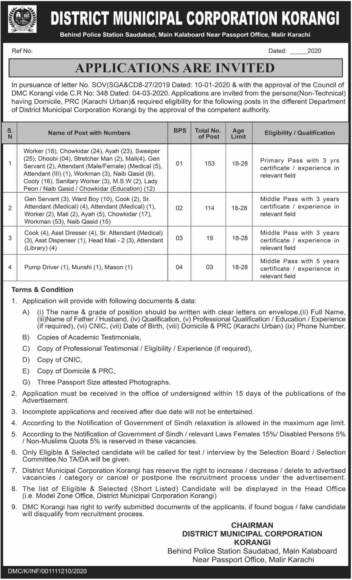 District Municipal Corporation Korangi Karachi Jobs 2020 Sindh