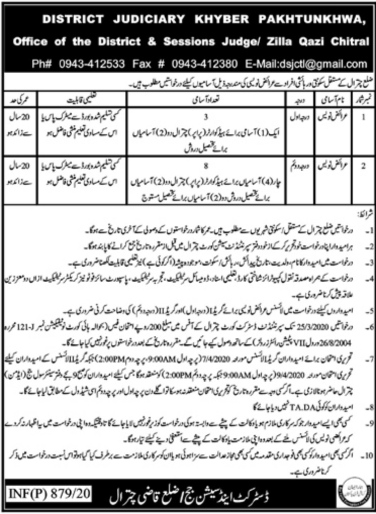 District & Session Court Chitral Jobs 2020