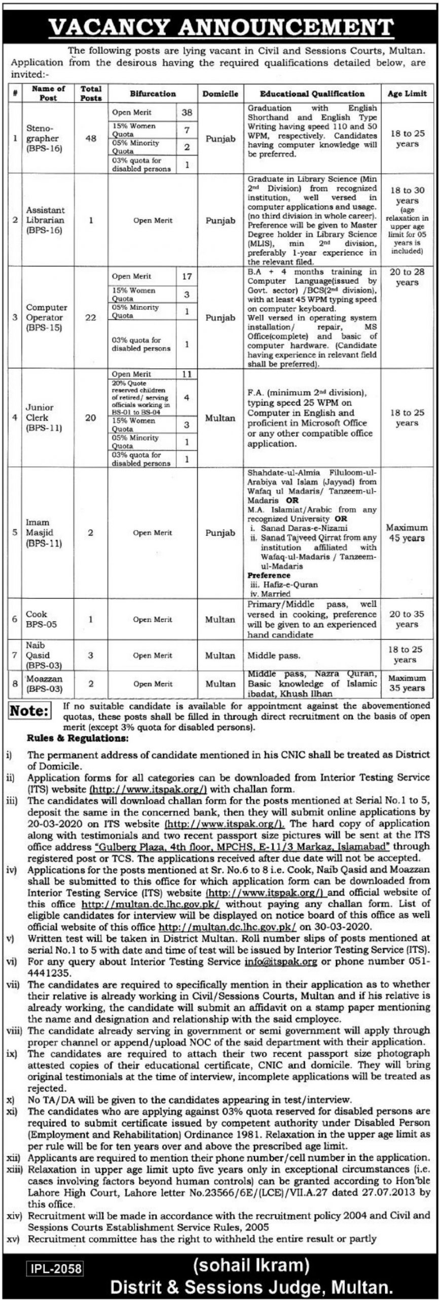 District & Session Court Multan Jobs 2020