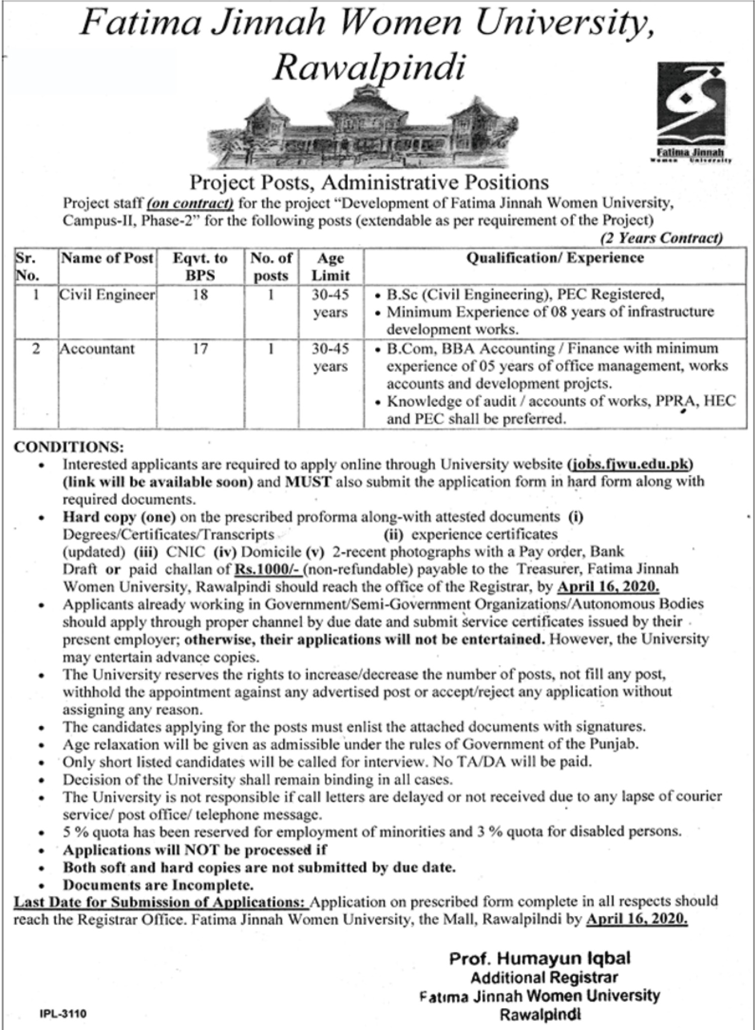 FJMU Rawalpindi Jobs 2020 Fatima Jinnah Women University