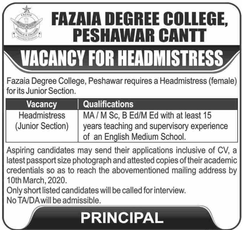 Fazaia Degree College Peshawar Cantt Jobs 2020