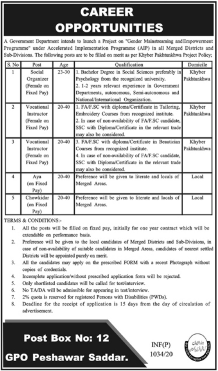Government Department Jobs 2020 P.O.Box 12 Peshawar