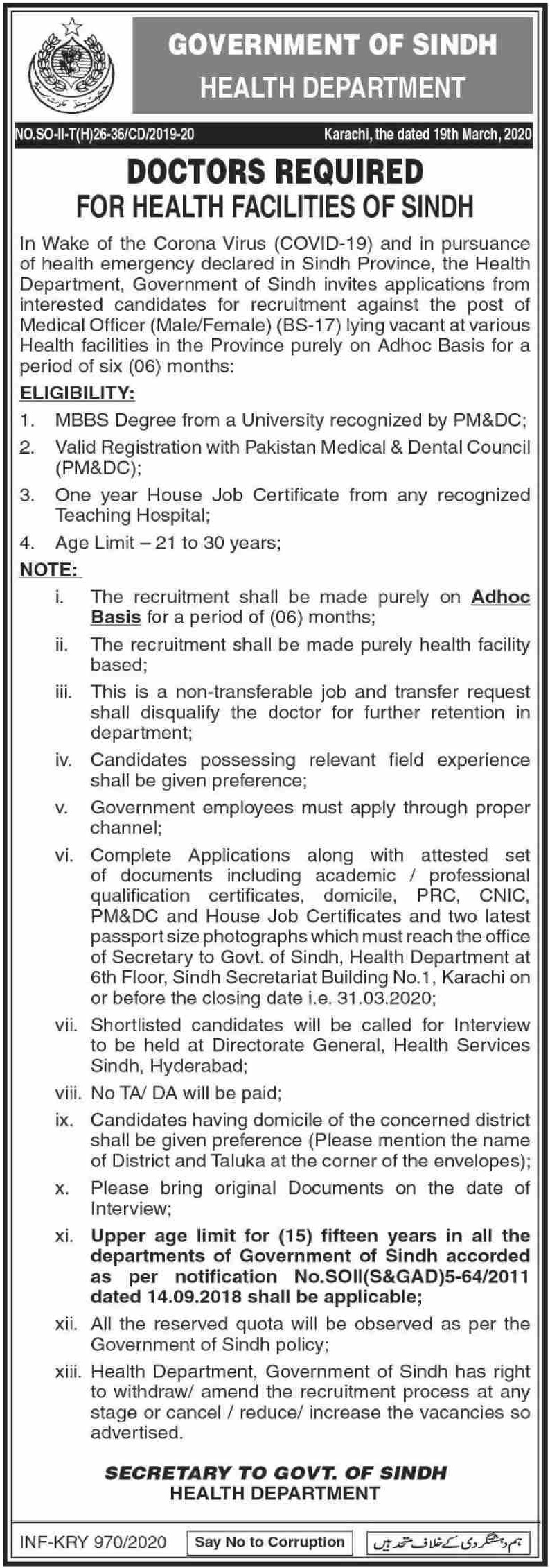 Health Department Sindh Jobs 2020 Doctors