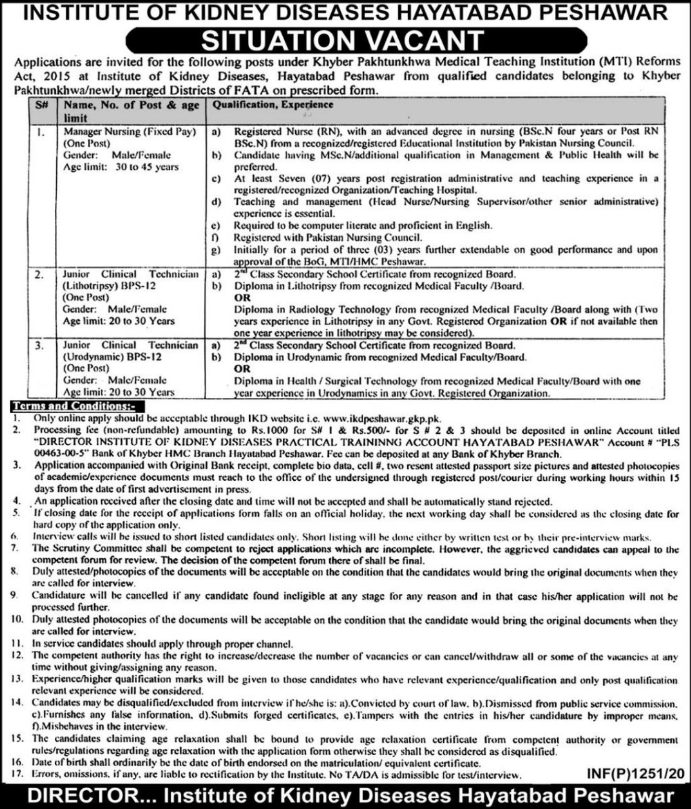 IKD Hayatabad Peshawar Jobs 2020 Institute of Kidney Diseases