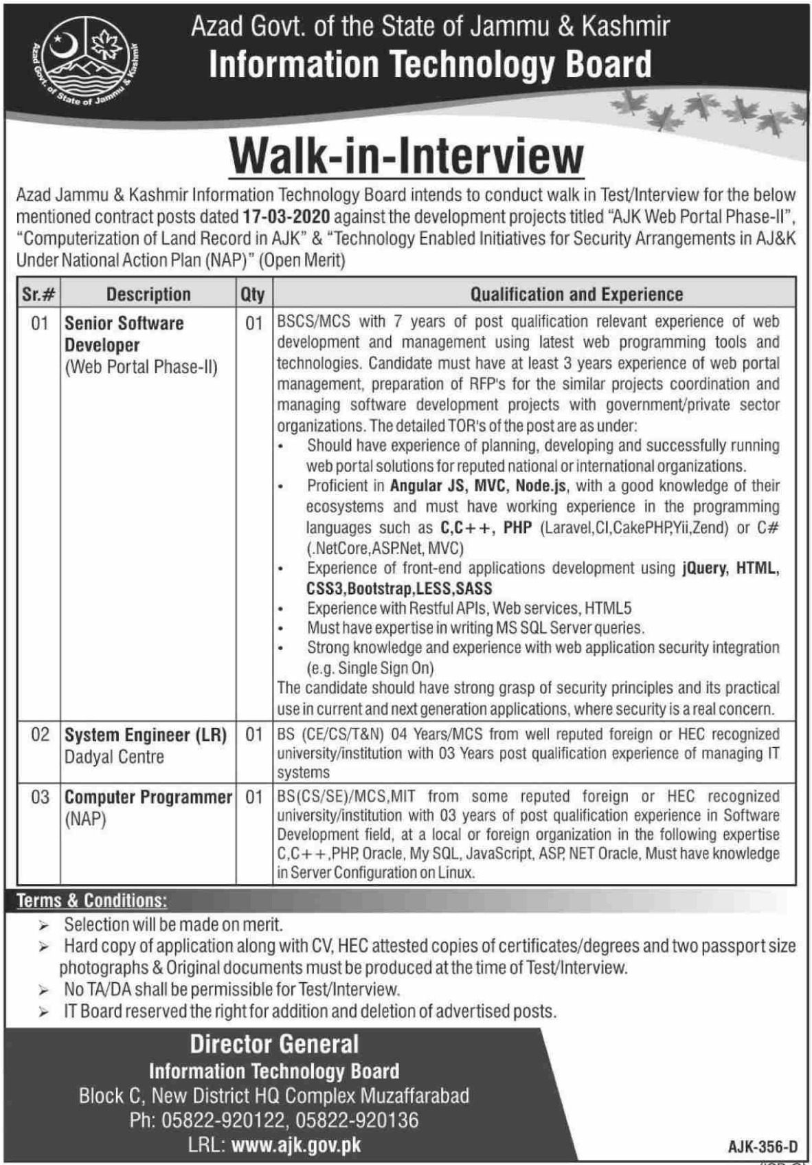 Information Technology Board AJK Jobs 2020