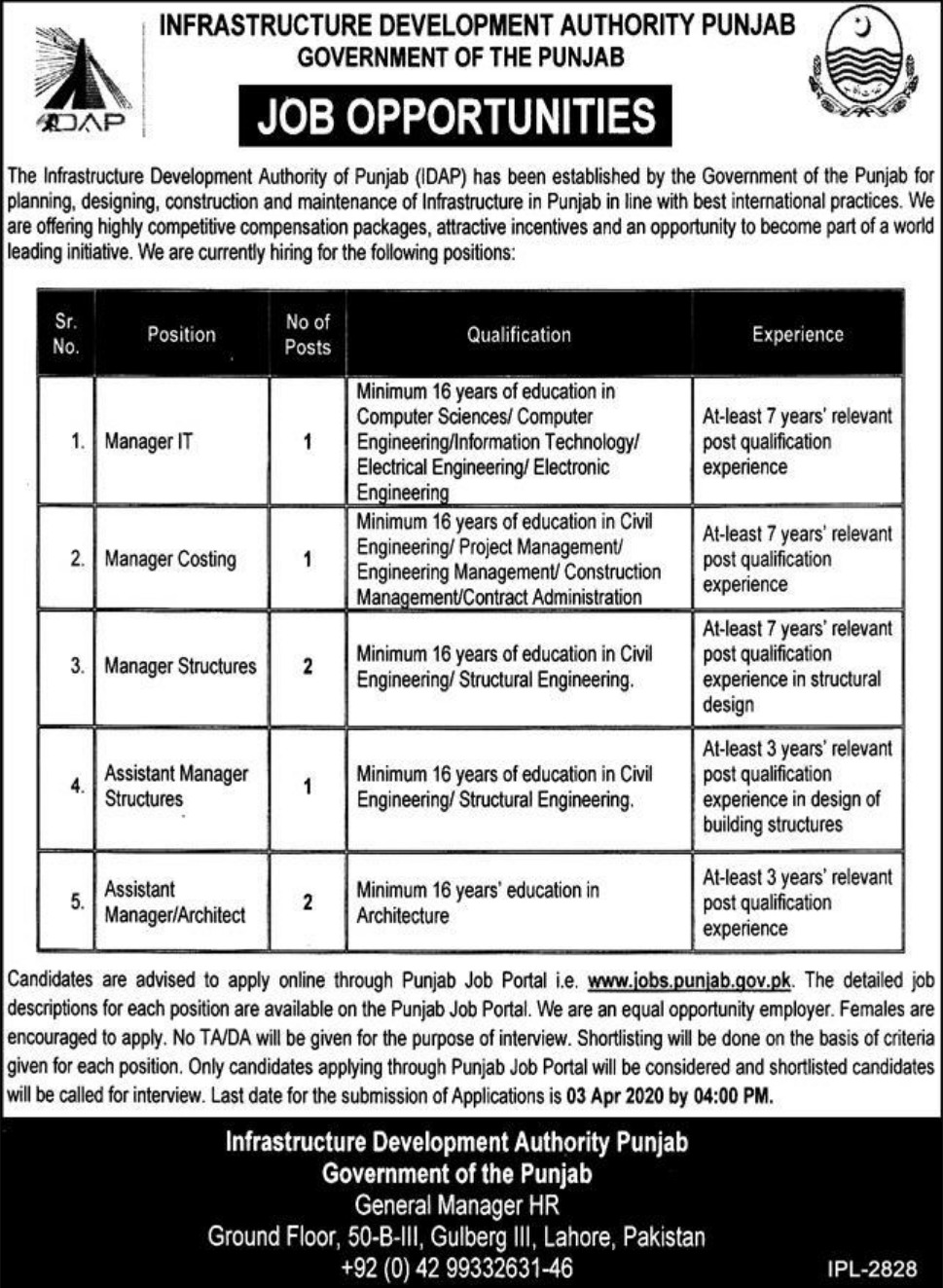 Infrastructure Development Authority Punjab IDAP Jobs 2020