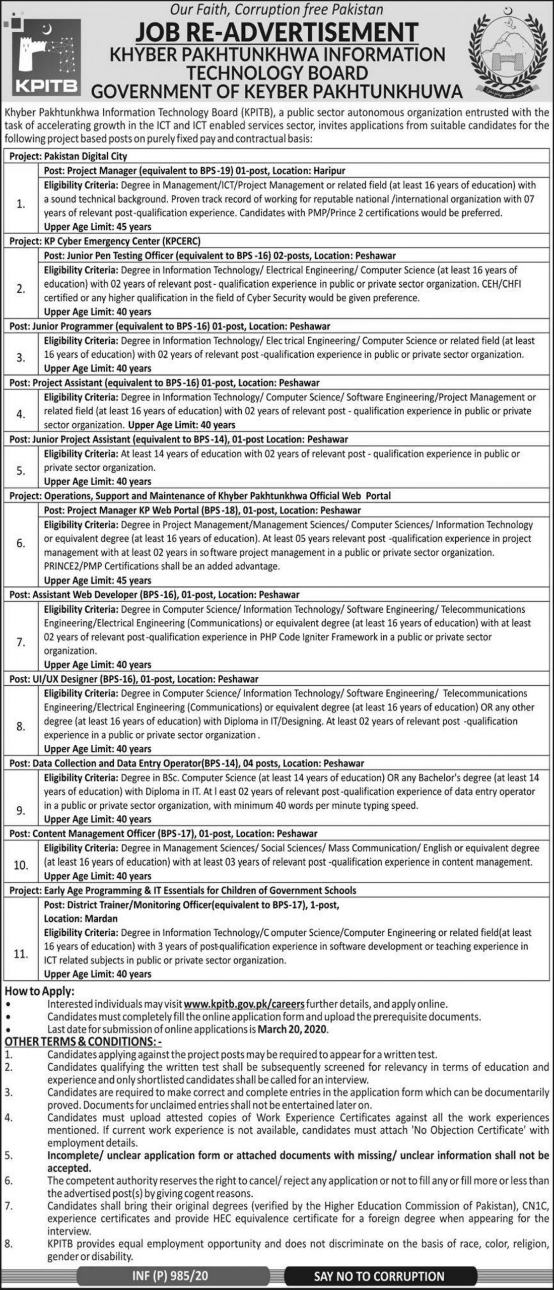 KPITB Jobs 2020 Khyber Pakhtunkhwa Information Technology Board