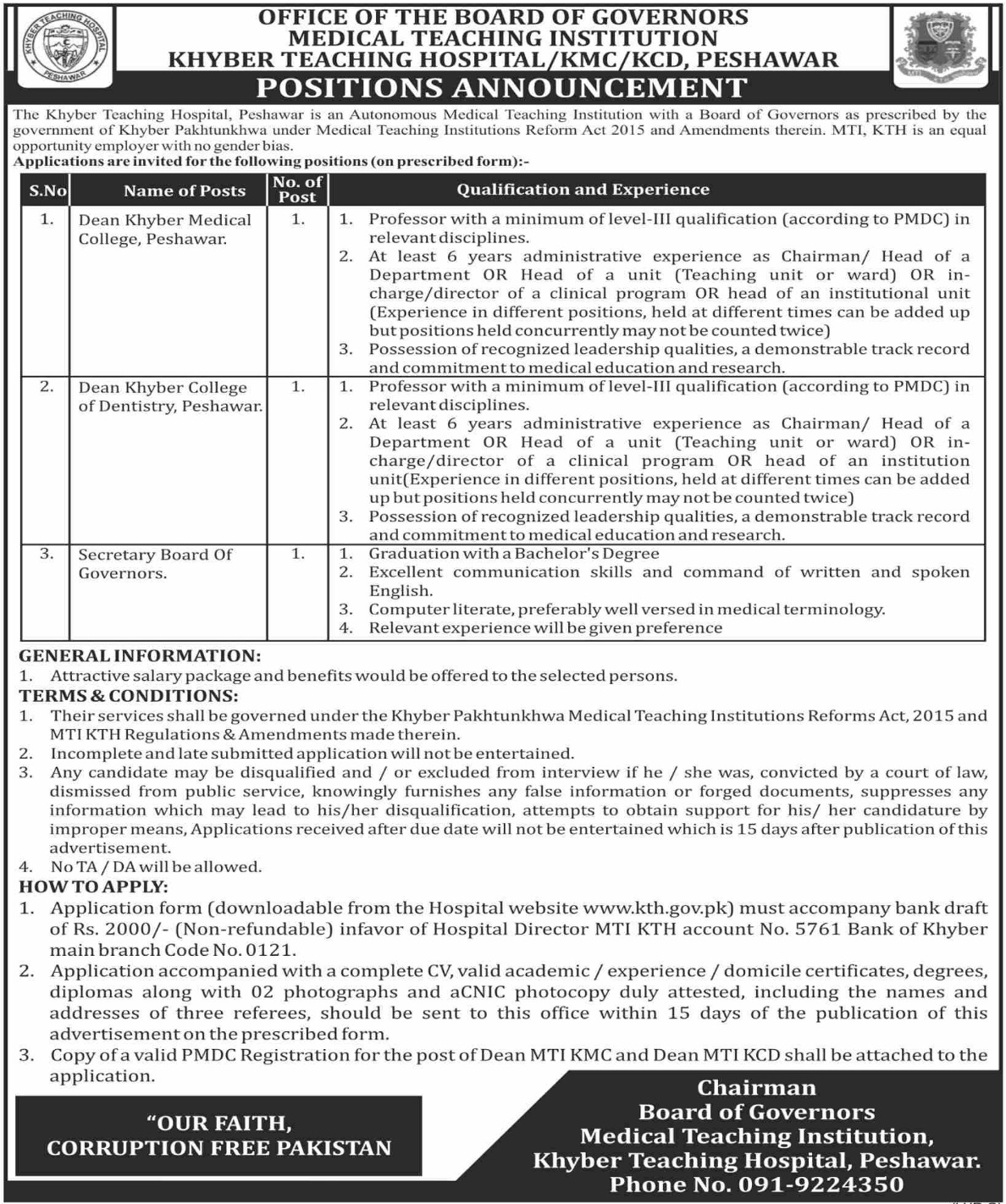 Khyber Teaching Hospital Peshawar Jobs 2020 MTI KTH KPK