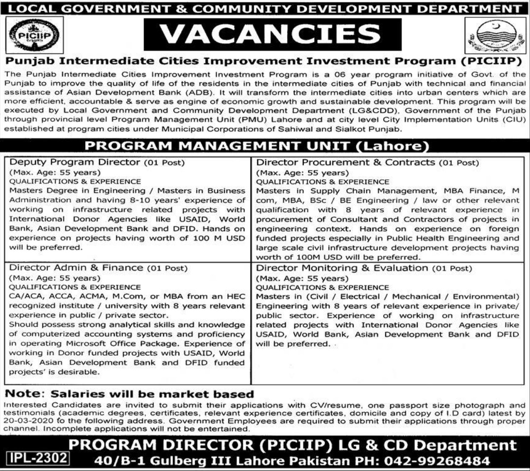 Local Government & Community Development Department LG&CDD Punjab Jobs 2020