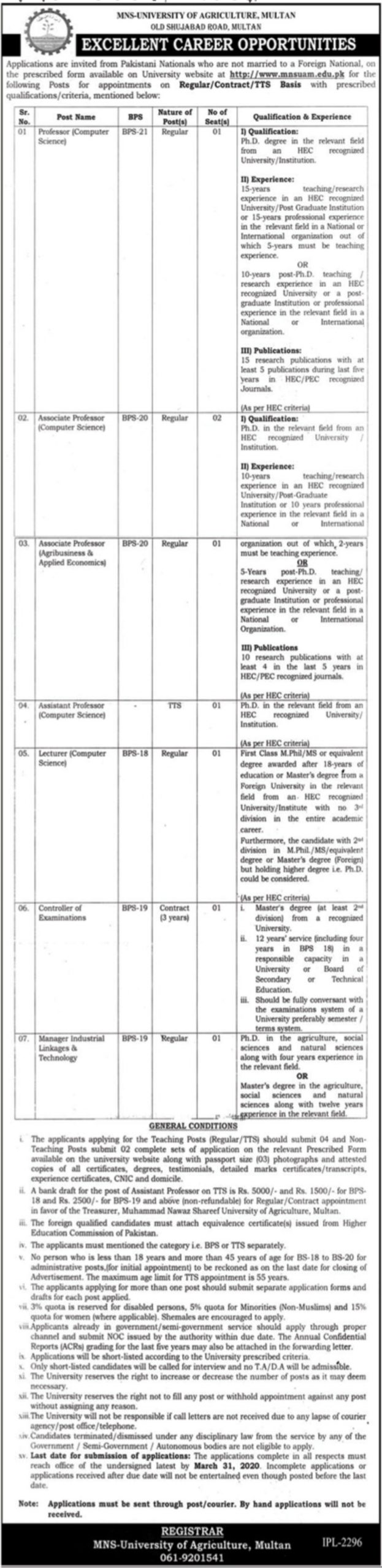 MNS University of Agriculture Multan Jobs 2020