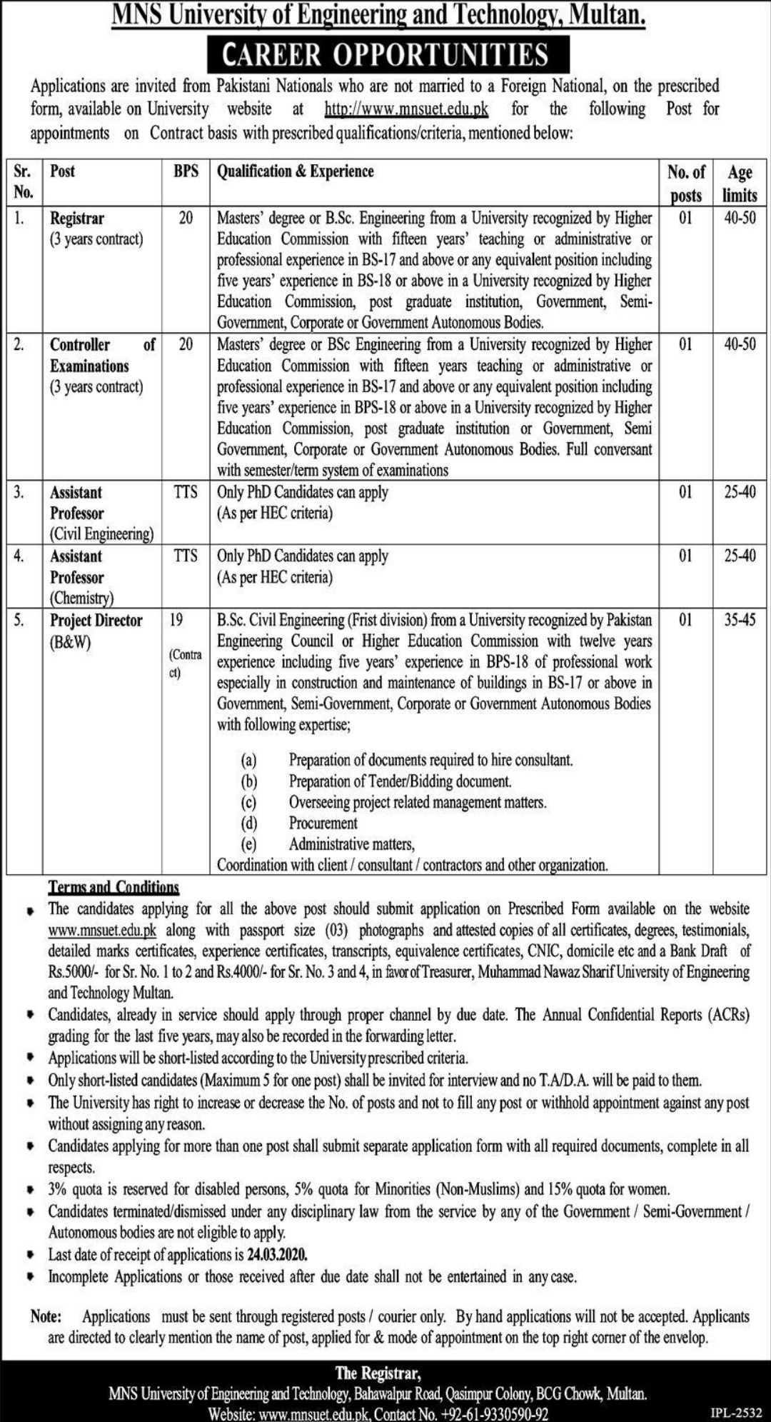 MNS University of Engineering & Technology Multan Jobs 2020
