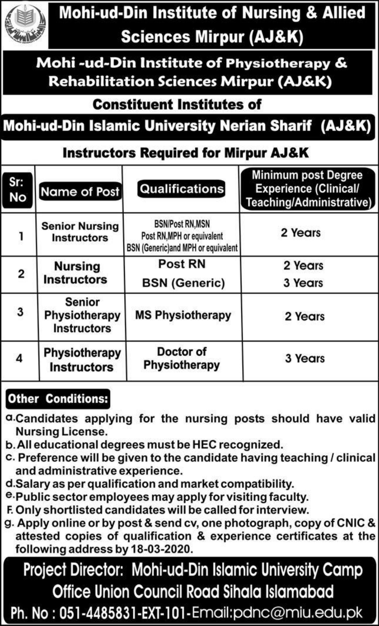 Mohi-ud-Din Institute of Nursing & Allied Sciences Mirpur AJK Jobs 2020