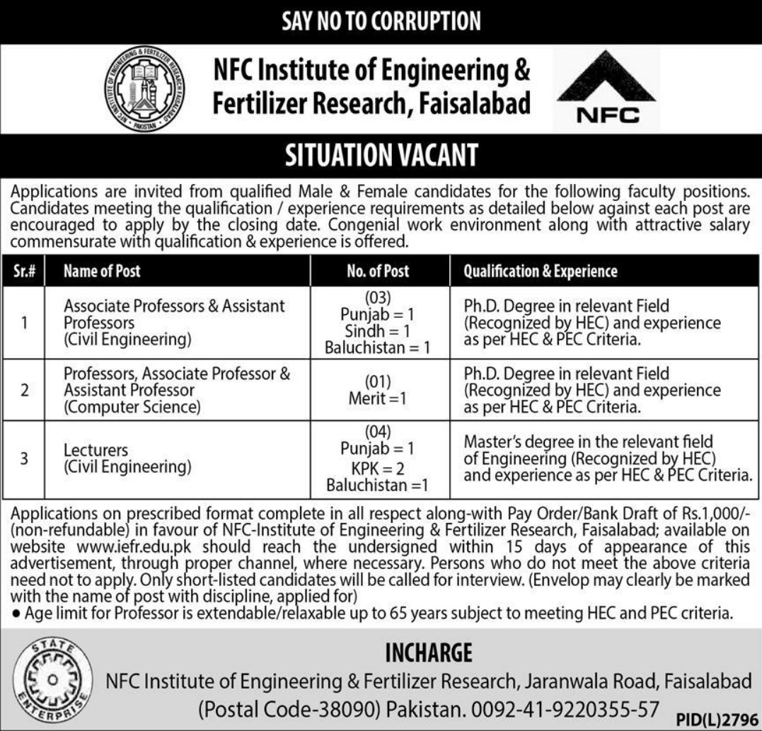 NFC Institute of Engineering & Fertilizer Research Faisalabad Jobs 2020