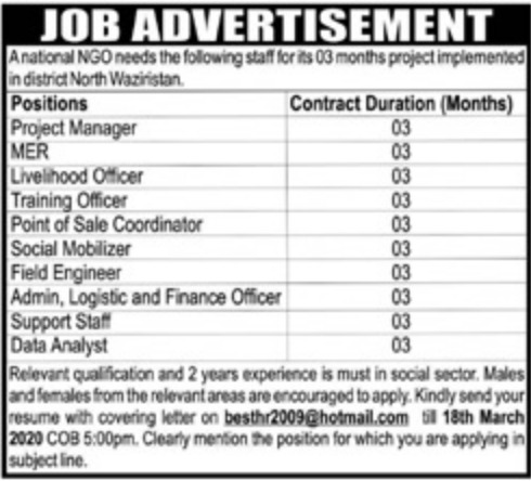 National NGO North Waziristan Jobs 2020 KPK