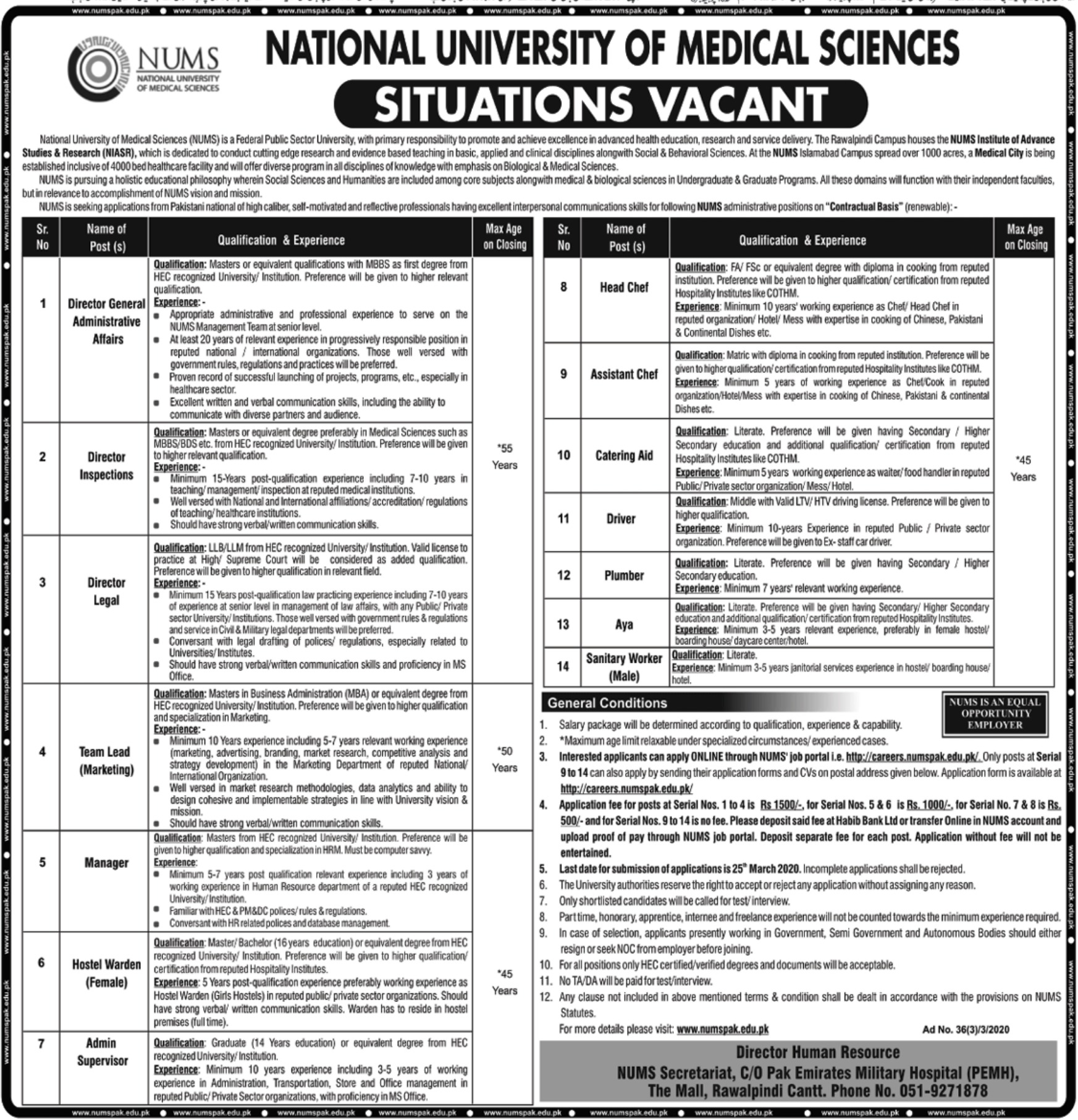 National University of Medical Sciences NUMS Rawalpindi Jobs 2020