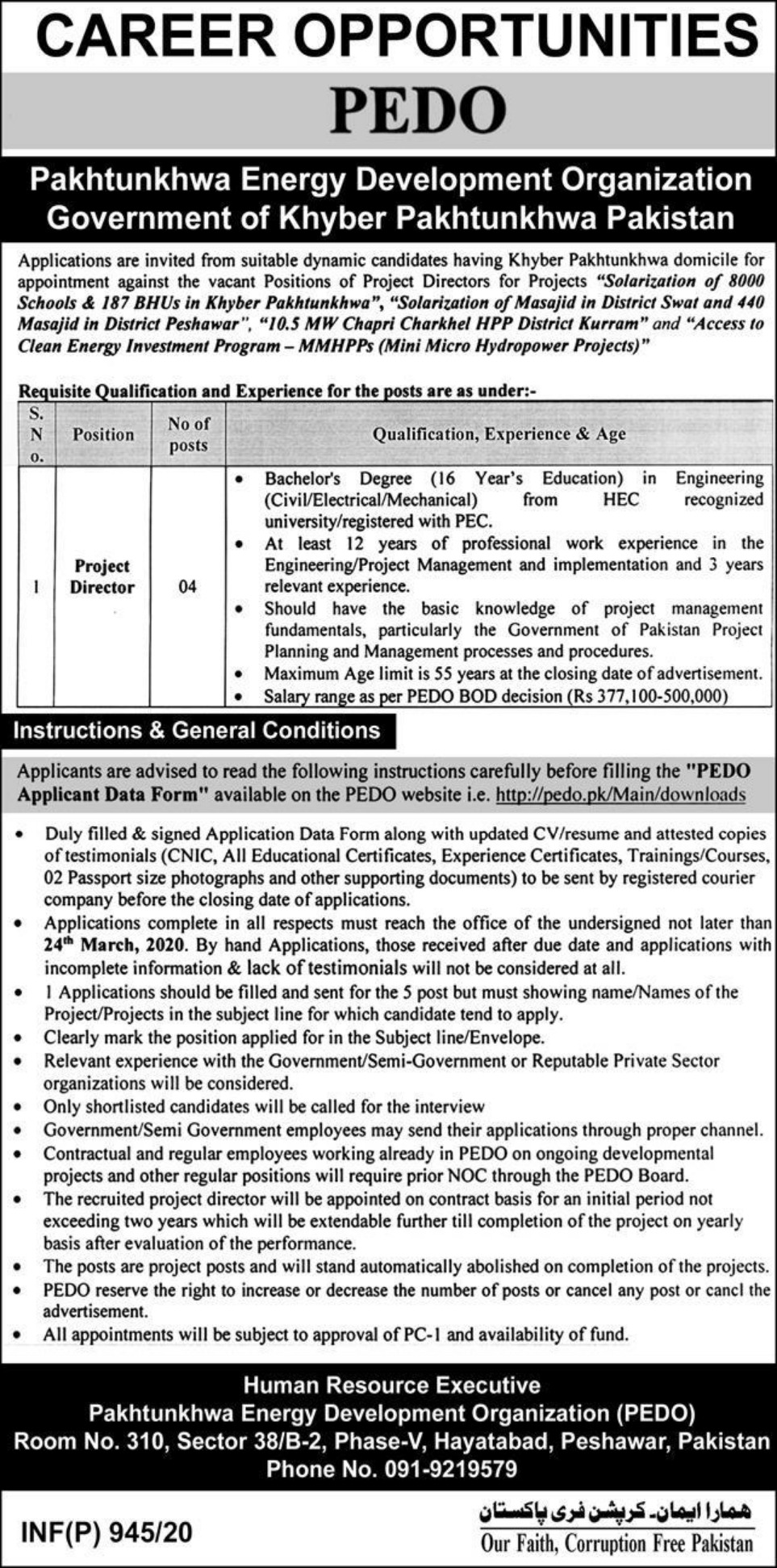 PEDO Peshawar Jobs 2020 Pakhtunkhwa Energy Development Organization