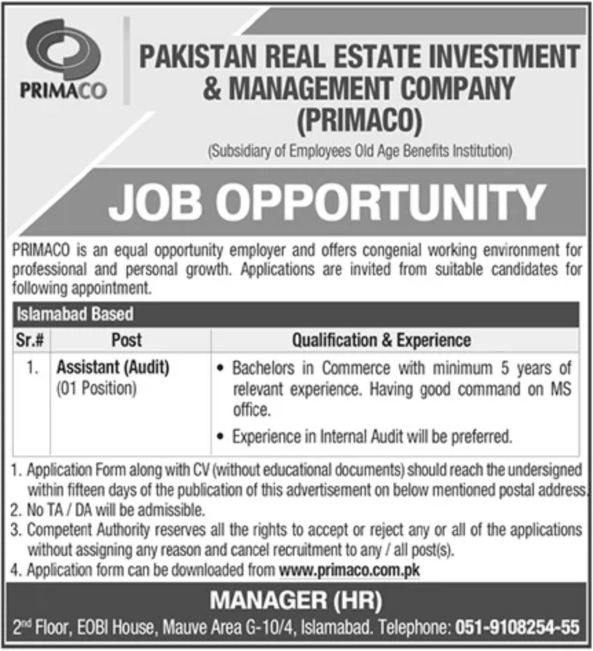 PRIMACO Jobs 2020 Pakistan Real Estate Investment & Management Company