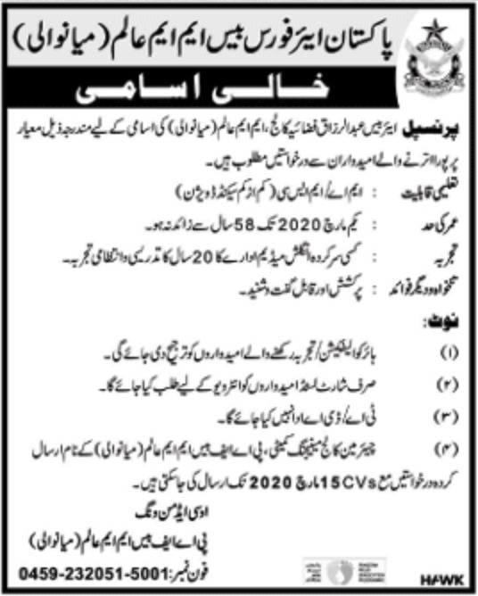 Pakistan Air Force PAF Base M.M. Alam Mianwali Jobs 2020