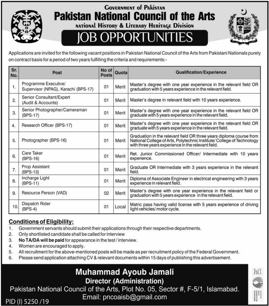 Pakistan National Council of Arts PNCA Jobs 2020