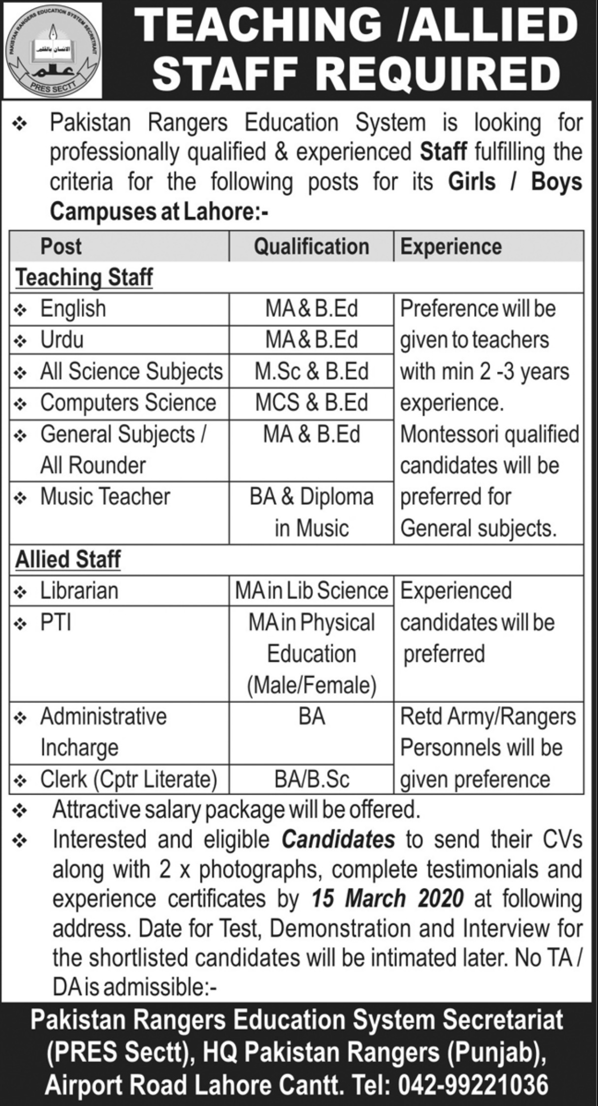 Pakistan Rangers Education System Lahore Jobs 2020