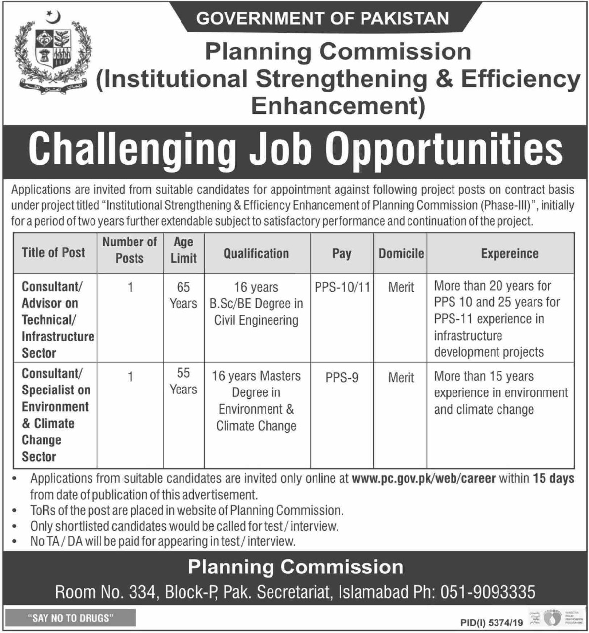Planning Commission Government of Pakistan Jobs 2020