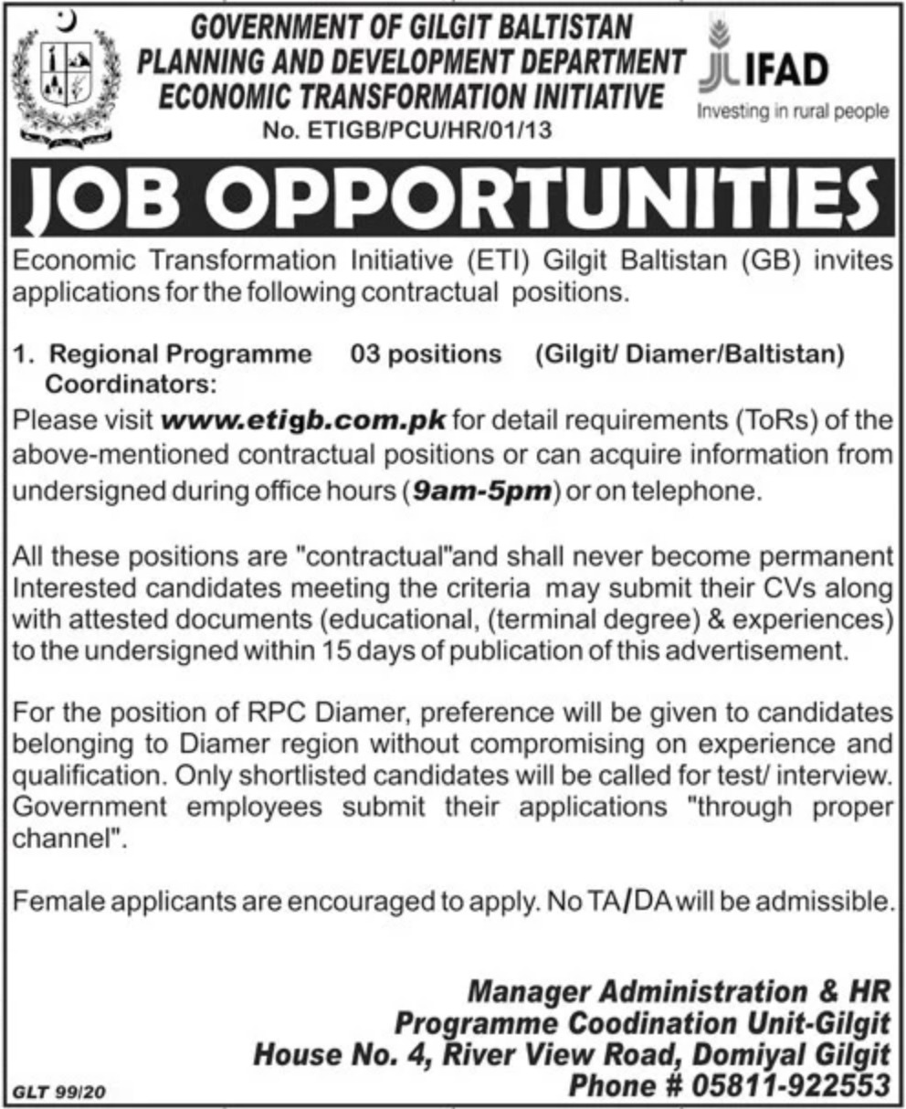 Planning & Development Department Government of Gilgit Baltistan Jobs 2020