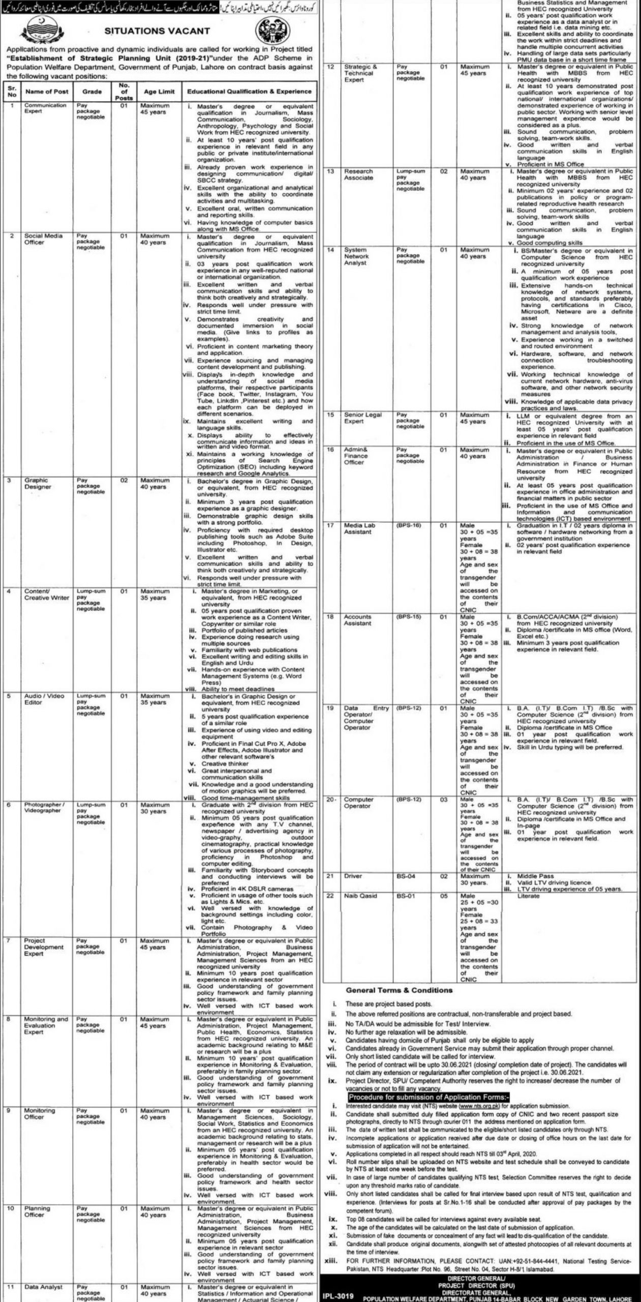 Population Welfare Department Punjab Jobs 2020 Apply via NTS