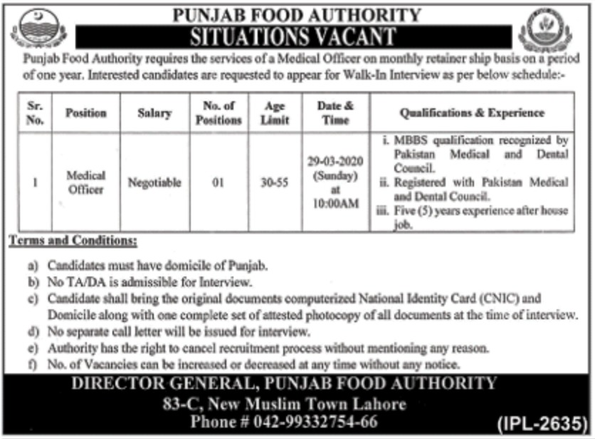 Punjab Food Authority PFA Jobs 2020