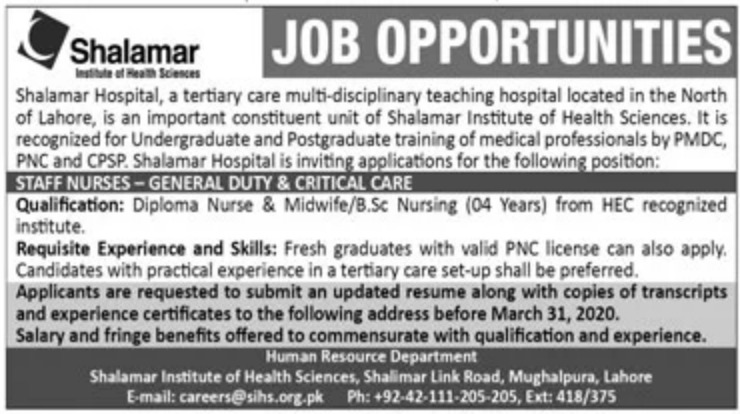 Shalamar Institute of Health Sciences Lahore Jobs 2020