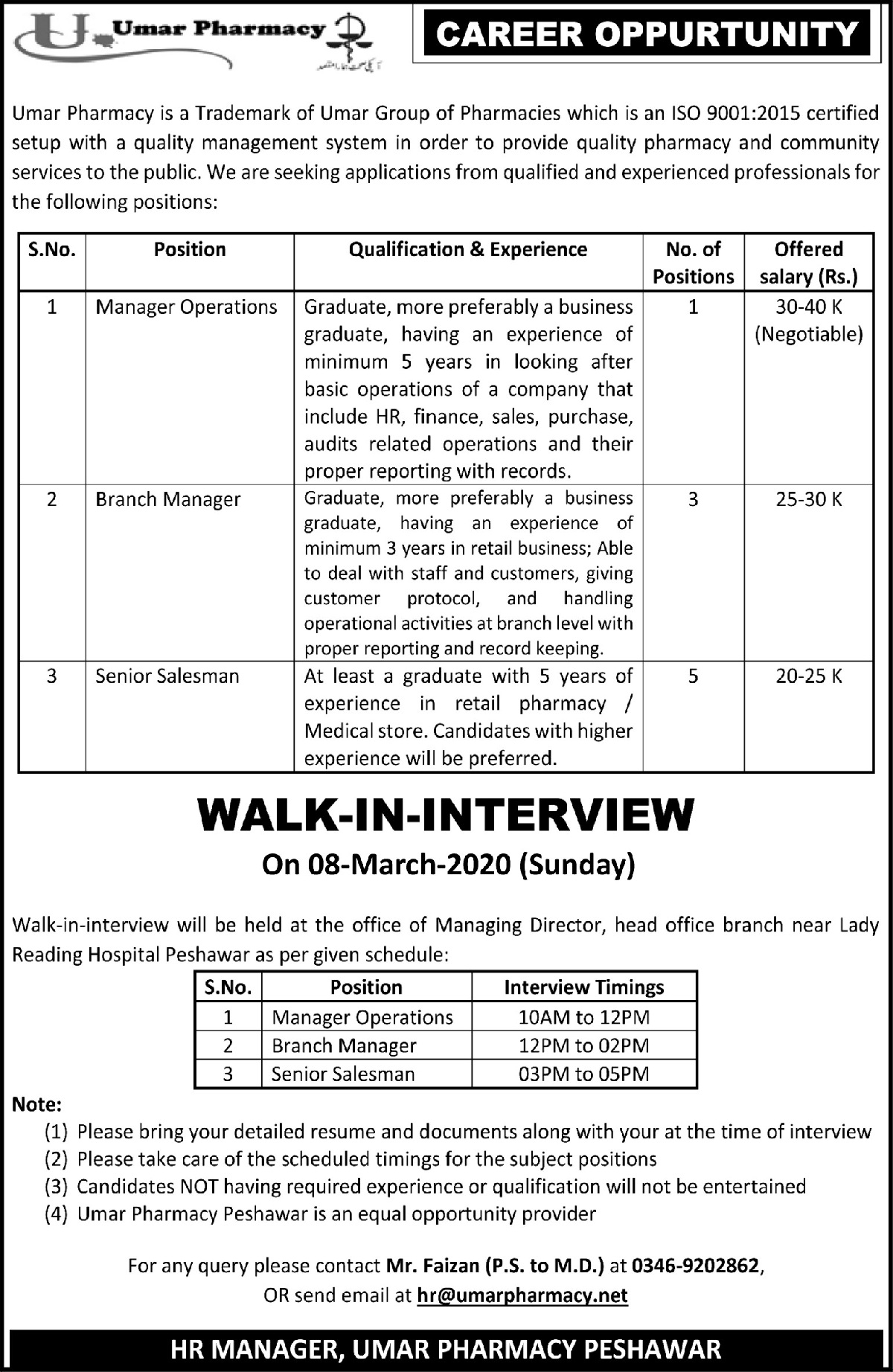 Umar Pharmacy Peshawar Jobs 2020 KPK