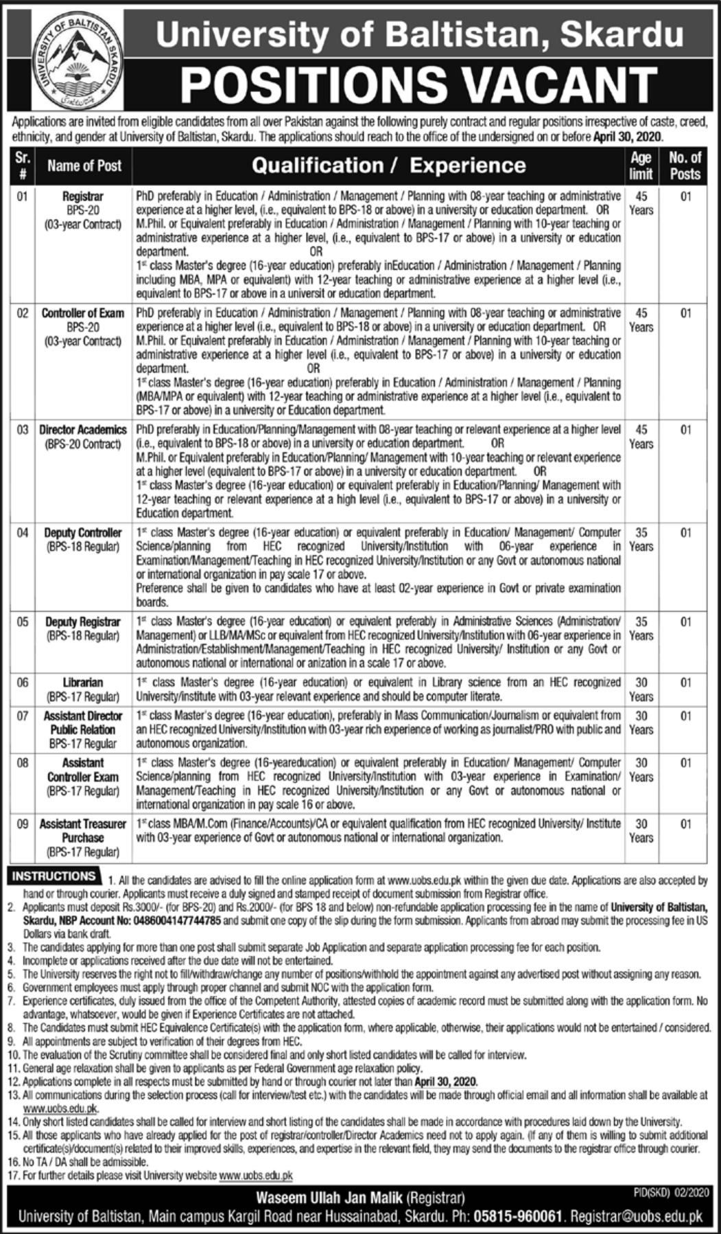 University of Baltistan Skardu Jobs 2020