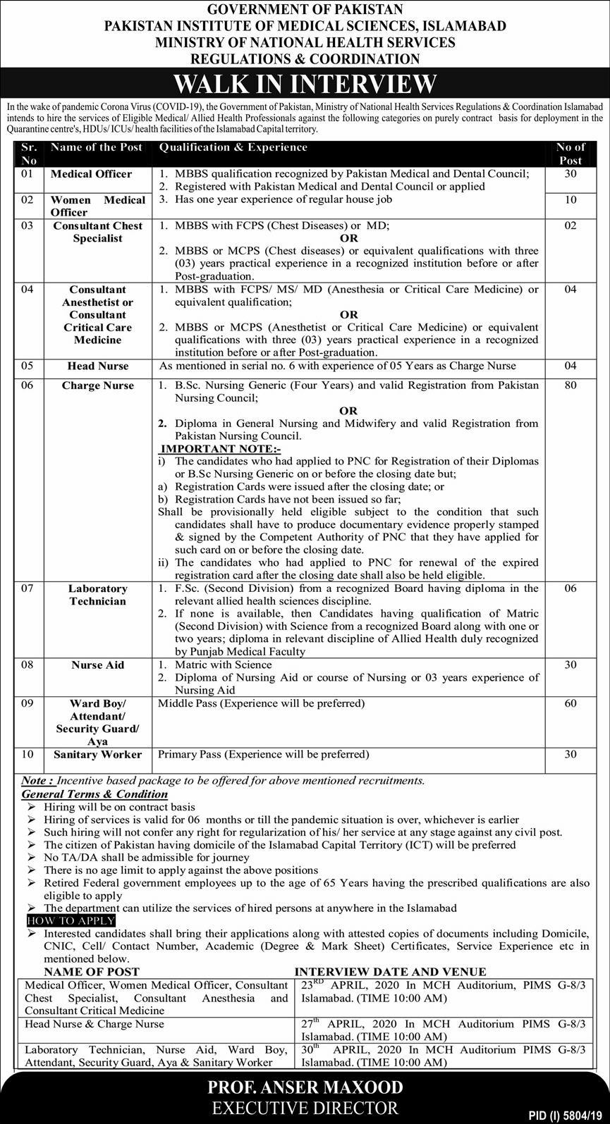 PIMS Islamabad Jobs 2020 Pakistan Institute of Medical Sciences