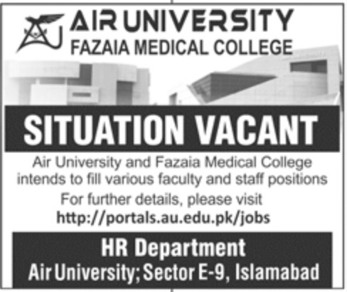 Air University Fazaia Medical College Islamabad Jobs August 2020