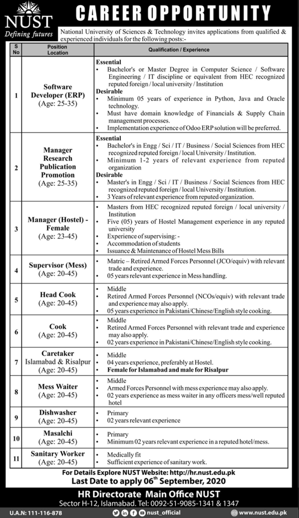 NUST Islamabad Jobs August 2020 National University of Sciences & Technology