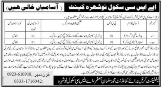 ASC School Nowshera Cantt Jobs September 2020
