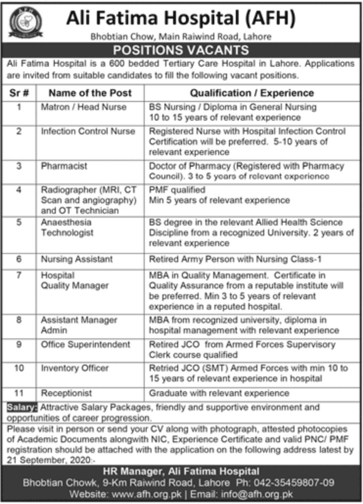 Ali Fatima Hospital Lahore Jobs September 2020