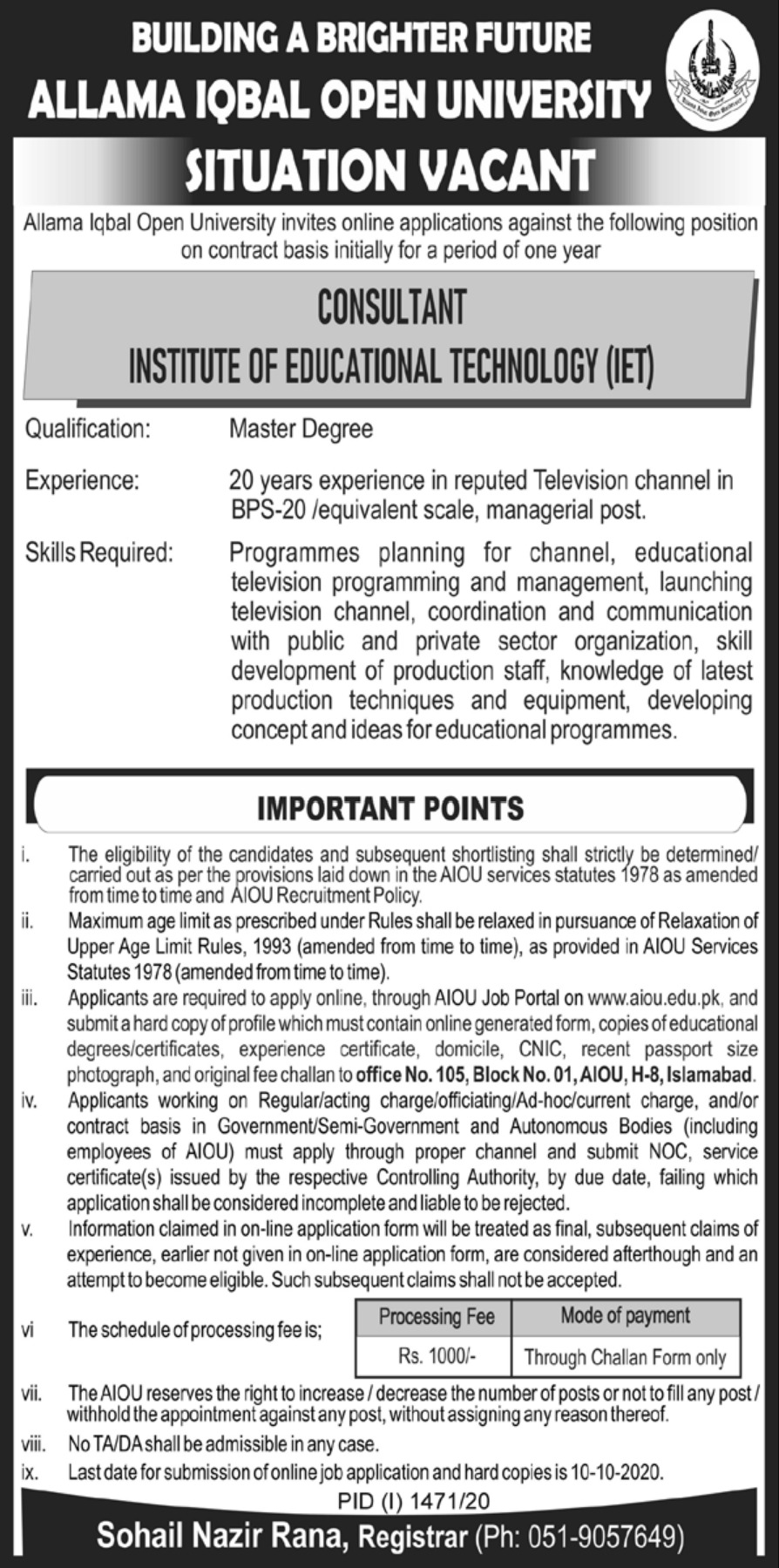 Allama Iqbal Open University AIOU Jobs September 2020