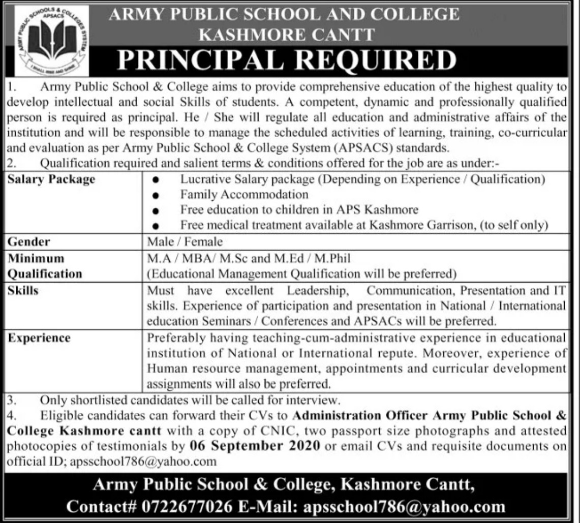 Army Public School & College Kashmore Cantt Jobs September 2020