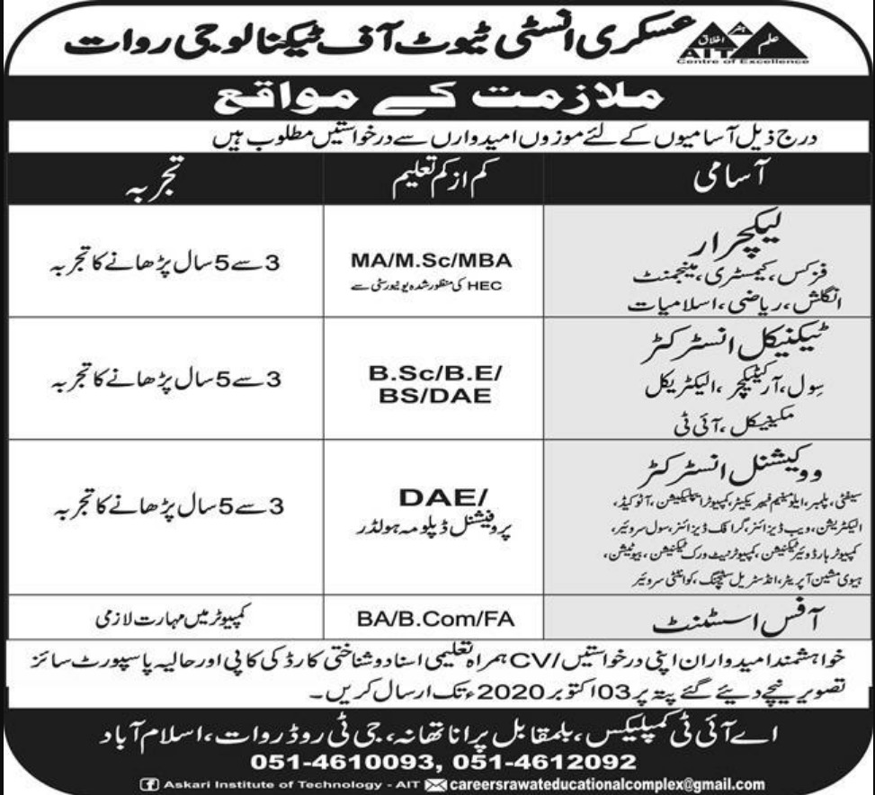 Askari Institute of Technology Rawat Islamabad Jobs September 2020