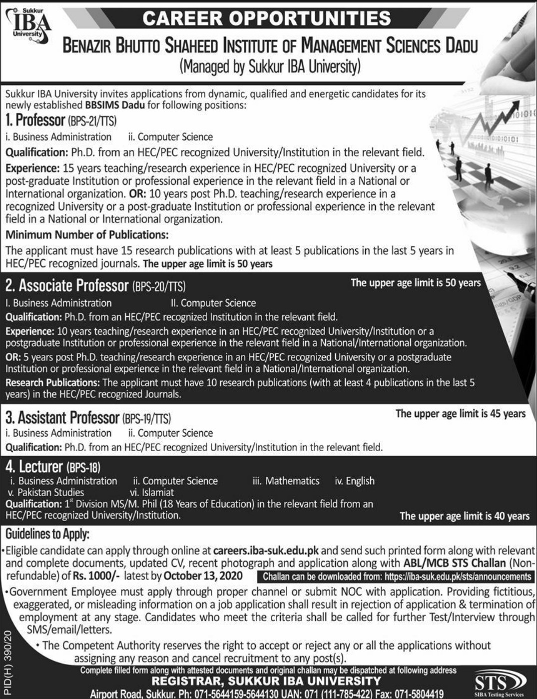 Benazir Bhutto Shaheed Institute of Management Sciences Dadu Jobs September 2020