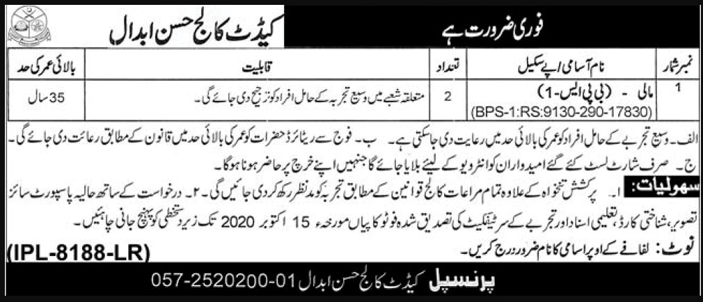 Cadet College Hasan Abdal Jobs September 2020