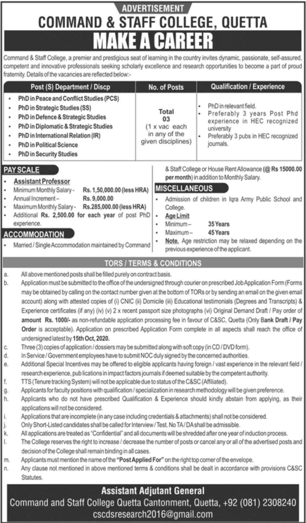 Command & Staff College Quetta Jobs September 2020