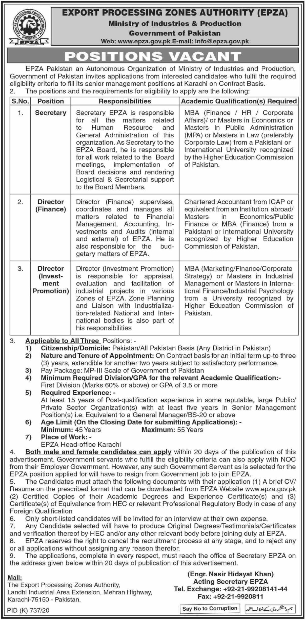 EPZA Ministry of Industries & Production Jobs September 2020
