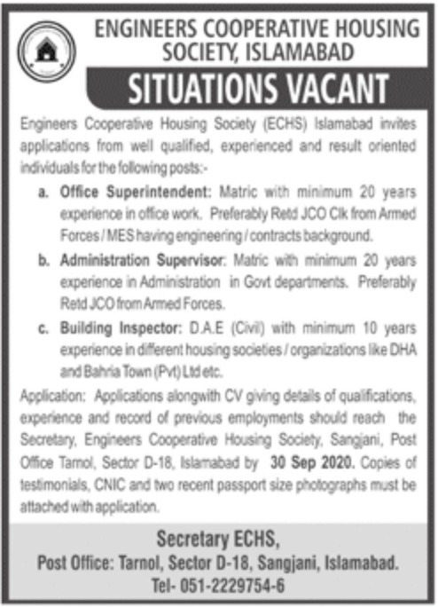 Engineers Cooperative Housing Society Islamabad Jobs September 2020